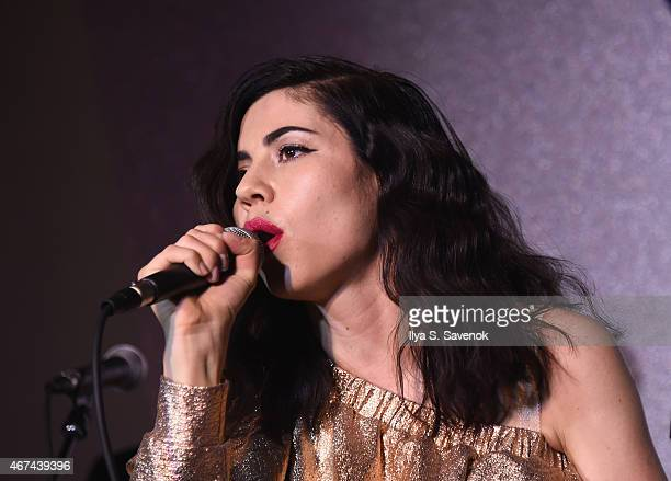 Marina and the Diamonds performs as Boots Beauty celebrates its launch into Walgreens at The Bailey Pub Brasserie on March 24 2015 in New York City
