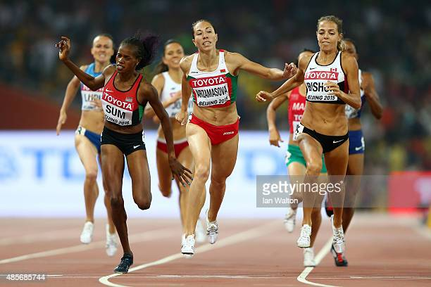Marina Arzamasova of Belarus wins gold in the Women's 800 metres final ahead of Eunice Jepkoech Sum of Kenya and Melissa Bishop of Canada during day...