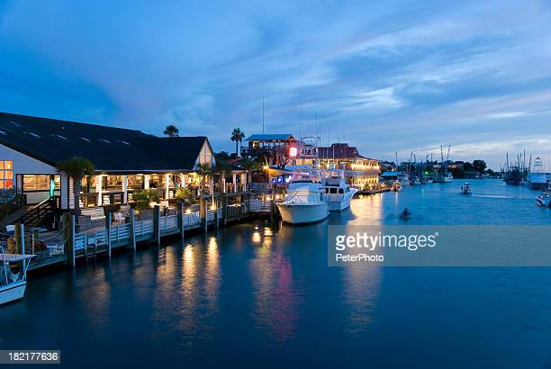 marina at night - template_talk:south_carolina stock pictures, royalty-free photos & images