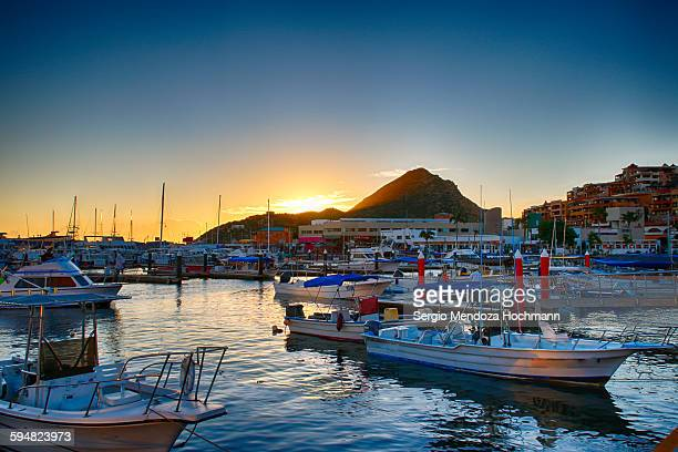 marina at sunrise in cabo san lucas, mexico - cabo san lucas stock pictures, royalty-free photos & images