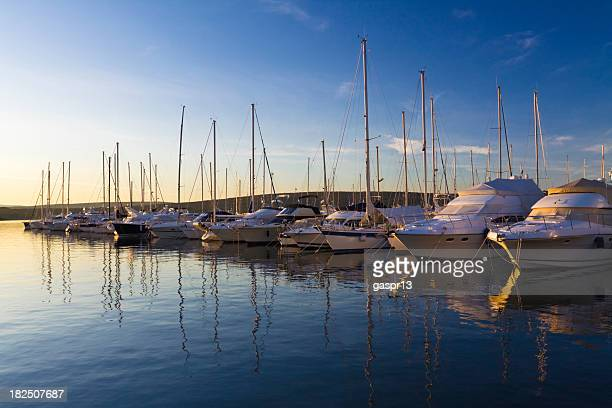marina at sunset - marina stock pictures, royalty-free photos & images