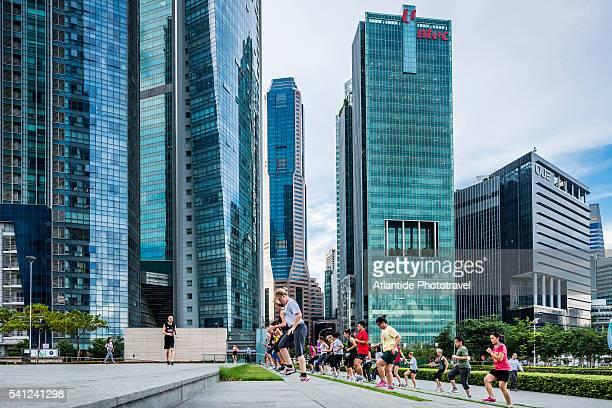 Marina Bay, outdoor training session at Marina Bay Financial Centre