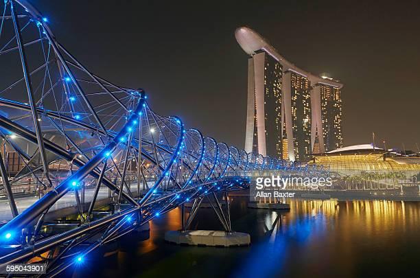 Marina Bay Sands and Helix Bridge at night