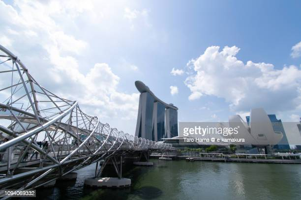 Marina Bay Sands, ArtScience Museum and The Helix Bridge in Singapore