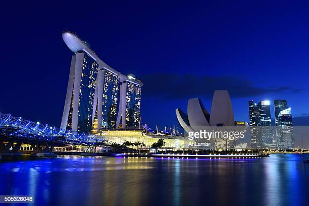marina bay sands hotel, singapore - association of southeast asian nations stock photos and pictures
