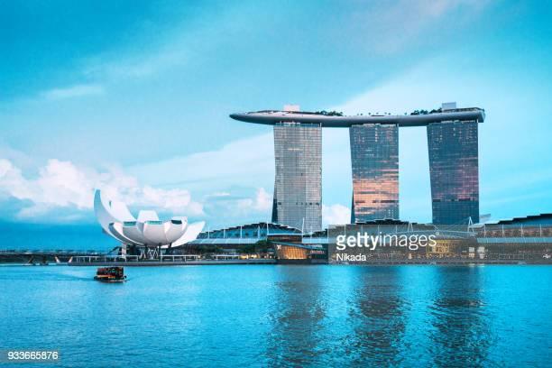 marina bay sands hotel, singapore - marina bay sands - fotografias e filmes do acervo