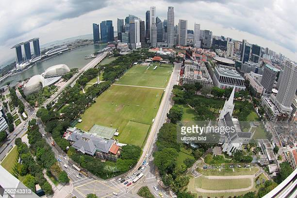 Marina Bay Sands Hotel Theatres on the bay Banking district Singapore Cricket Club St Andrews Cathedral taken from the 39th floor of the Swissotel...