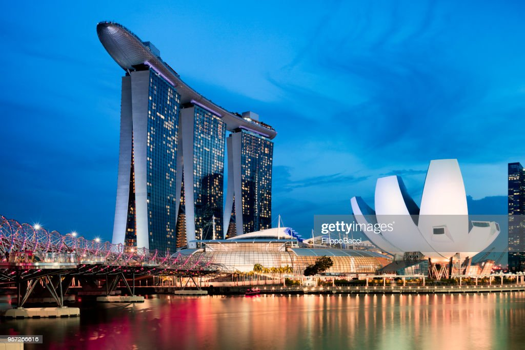 Marina Bay Sands in Singapore at sunset : Stock Photo