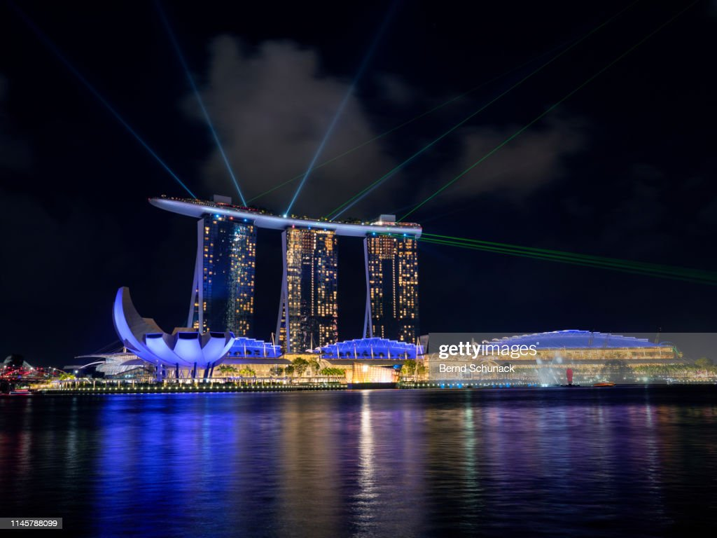 Marina Bay Sands Light & Water Show : Stock-Foto