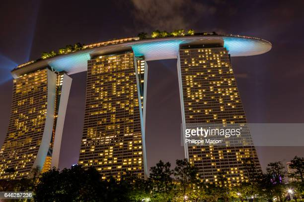Marina Bay Sands luxury hotel at night in Singapore