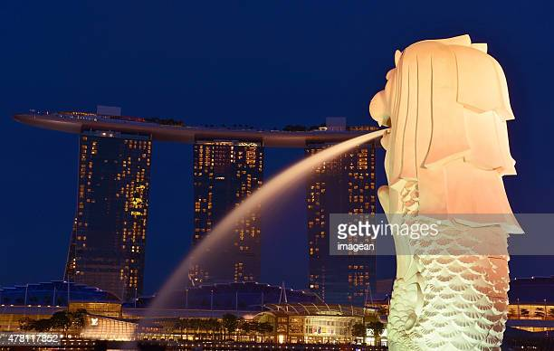 marina bay sands - singapore - merlion park stock photos and pictures