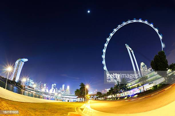 marina bay, singapore - singapore flyer stock photos and pictures
