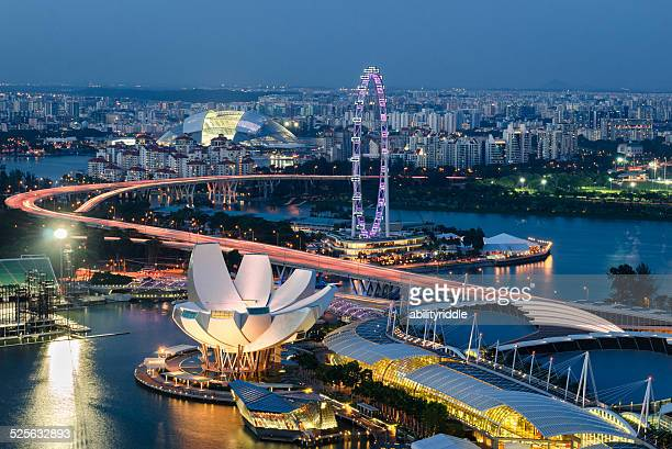 marina bay view - singapore flyer stock photos and pictures