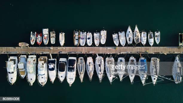 marina bay with sailboats and yachts - marina stock photos and pictures