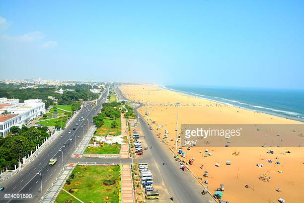 marina beach chennai city - chennai stock pictures, royalty-free photos & images