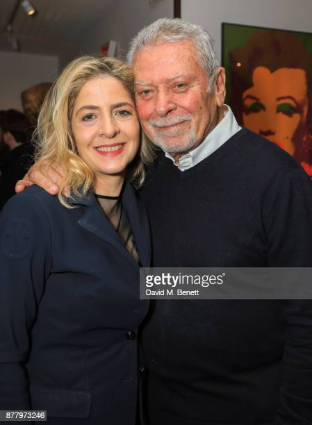 Marina Berni and Lorenzo Berni attend a private view of Koo Stark's exhibition 'Kintsugi Portraits' at Galleria San Lorenzo on November 23 2017 in...