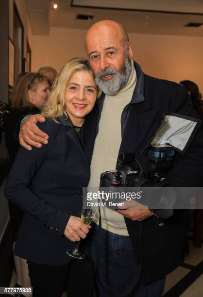 Marina Berni and Richard Young attend a private view of Koo Stark's exhibition 'Kintsugi Portraits' at Galleria San Lorenzo on November 23 2017 in...