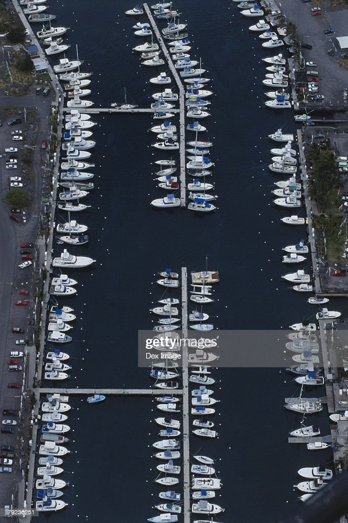Marina, Big Island, Hawaii, aerial view : Stock Photo
