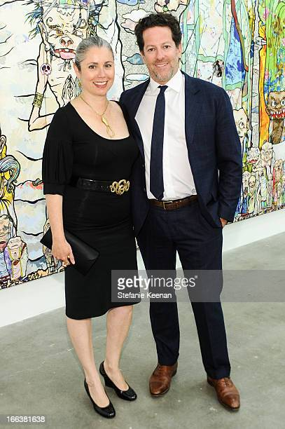 Marina Blum and Tim Blum attend the Takashi Murakami Private Preview at Blum Poe on April 11 2013 in Los Angeles California