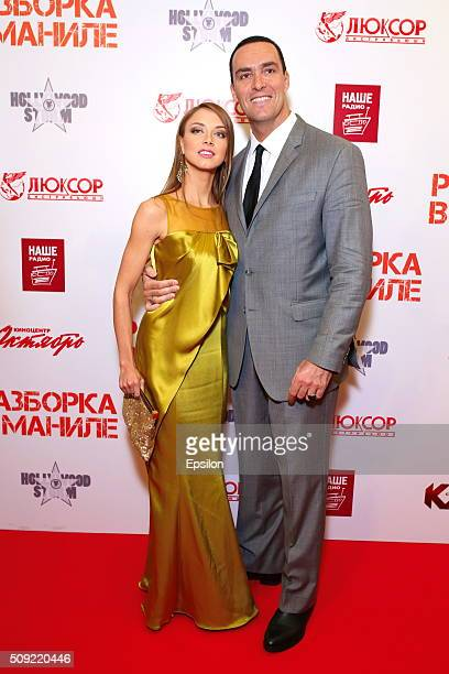 Marina Brovikova and Alexander Nevsky attend 'Showdown in Manila' premiere in October cinema hall on February 9 2016 in Moscow Russia