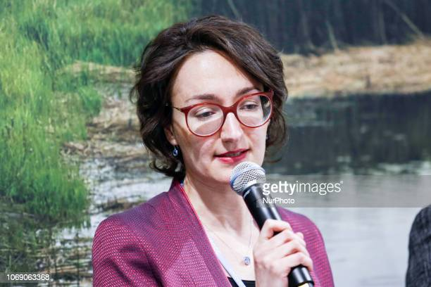 Marina Bylinsky Head of Environmental Strategy amp Intermodality ACI Europe speaks during side event of the UN climate conference COP24 in Katowice...
