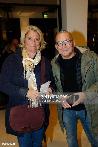 Marina Carrere d'Encausse and Gerard Collard attend Nana Mouskouri Forever Young Tour 2018 at Salle Pleyel on March 8 2018 in Paris France