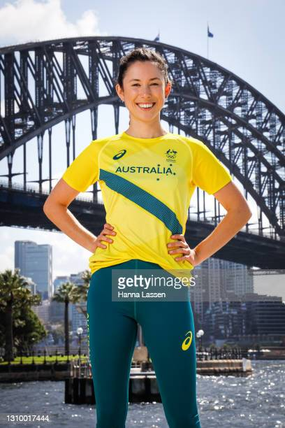Marina Carrier poses during the Australian Olympic Team Tokyo 2020 uniform unveiling at the Overseas Passenger Terminal on March 31, 2021 in Sydney,...