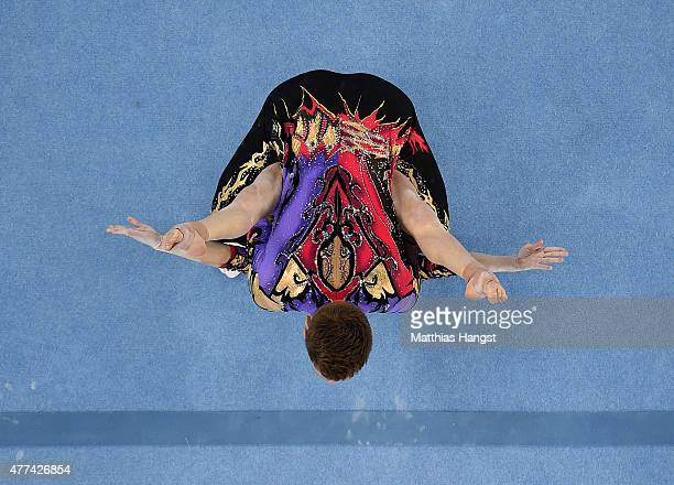 Marina Chernova and Georgy Pataraya of Russia compete in the Gymnastic Acrobatic Mixed Pair Dynamic Qualification during day five of the Baku 2015...