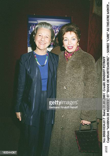 Marina De Brantes and Diane De Wurttemberg at theCare Evening At The Theatre Montparnasse In Paris
