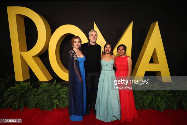 Marina de Tavira Alfonso Cuaron Yalitza Aparicio and Nancy Garcia during the premiere of the Netflix movie Roma at Cineteca Nacional on December 18...
