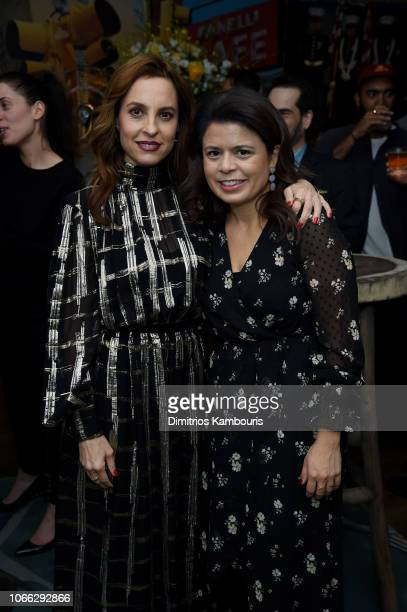 Marina de Tavira and Gabriela Rodriguez arrive at Roma New York Tastemakers Event at Crosby Street Hotel on November 28 2018 in New York City