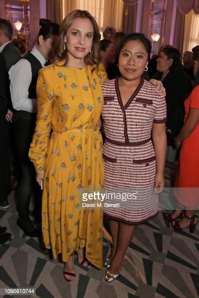 Marina de Tavira and Yalitza Aparicio attend attends the 91st Academy Awards Champagne Tea Reception at Claridge's Hotel on February 8 2019 in London...
