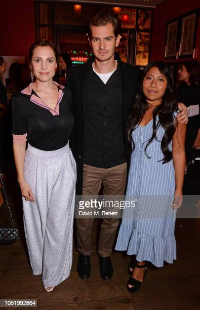 "Marina de Tavira, Andrew Garfield and Yalitza Aparicio attend a screening of Alfonso Cuaron's ""Roma"" hosted by Netflix & David Heyman at The Ham Yard..."