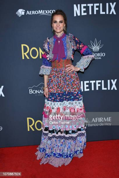 Marina de Tavira poses for photos during the red carpet and screening of Alfonso Cuaron and Netflix's film 'Roma' at Cineteca National on November 21...