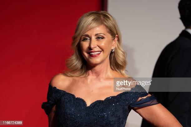 Marina Di Guardo walks the red carpet ahead of the ''Chiara Ferragni Unposted'' screening during the 76th Venice Film Festival at Sala Giardino on...