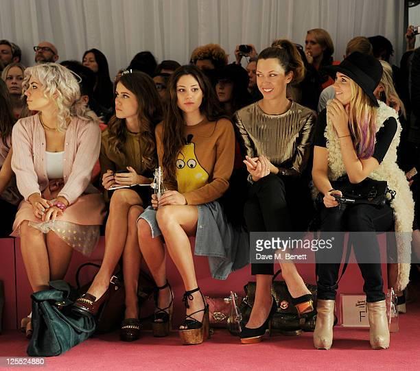 Marina Diamandis Jade Williams Eliza Doolittle Margo Stilley and Marissa Montgomery sit in the front row at the Mulberry Spring/Summer 2012 runway...