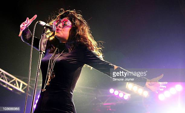 Marina Diamandis of Marina and The Diamonds performs live on the Festival Republic stage during day one of Reading Festival on August 27 2010 in...