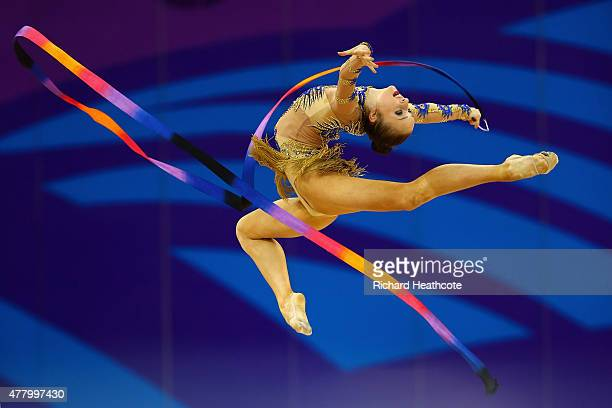 Marina Durunda of Azerbaijan competes during the Rhythmic Gymnastics Individual Ribbon final on day nine of the Baku 2015 European Games at the...