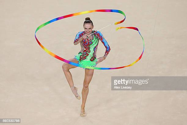 Marina Durunda of Azerbaijan competes during the Women's Individual AllAround Rhythmic Gymnastics Final on Day 15 of the Rio 2016 Olympic Games at...