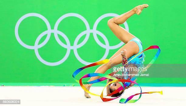 Marina Durunda of Azerbaijan competes during the Women's Individual AllAround Rhythmic Gymnastics Final on Day 15 of the Rio 2016 Olympic Games at...