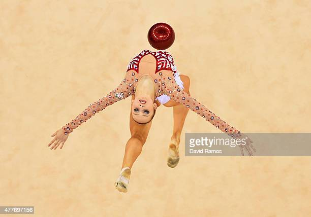Marina Durunda of Azerbaijan competes in the Rhythmic Gymnastics Inidivdual AllAround Final during day seven of the Baku 2015 European Games at the...