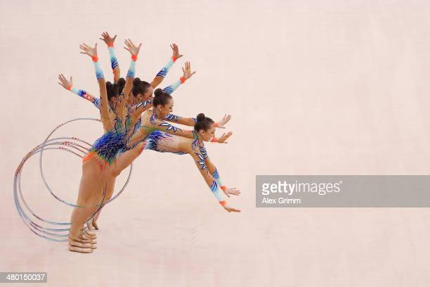 Marina Durunda of Azerbaijan performs during the individual hoop final of the GAZPROM World Cup Rhythmic Gymnastics 2014 at the Porsche Arena on...