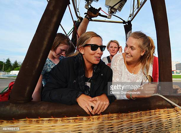 Marina Erakovic of New Zealand and Antonia Lottner of Germany take a ride in a hotair balloon during Day 5 of the Nuernberger Versicherungscup on May...