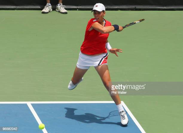 Marina Erakovic of New Zealand plays a forehand in her first round match against Alize Cornet of France during day two of the ASB Classic at the ASB...