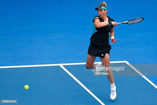 Marina Erakovic of New Zealand plays a forehand in her singles match against Alexandra Dulgheru of Romania during day three of the 2016 ASB Classic...