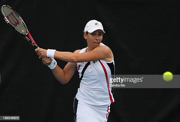 Marina Erakovic of New Zealand plays a shot in her match against Angelique Kerber of Germany during day two of the 2012 ASB Classic at ASB Tennis...