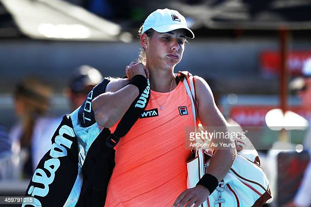 Marina Erakovic of New Zealand walks off the court after losing the match against Lauren Davis of United States during day two of the ASB Classic at...