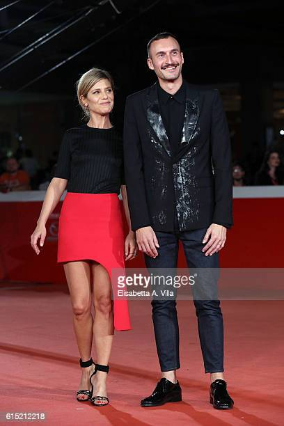 Marina Fois and director Sebastien Marnier walk a red carpet for 'Irreprochable Faultless' during the 11th Rome Film Festival at Auditorium Parco...