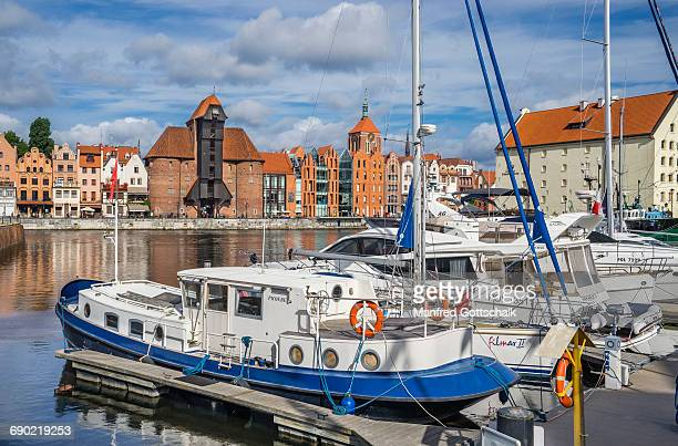 marina gdansk yacht harbour - motlawa river stock pictures, royalty-free photos & images