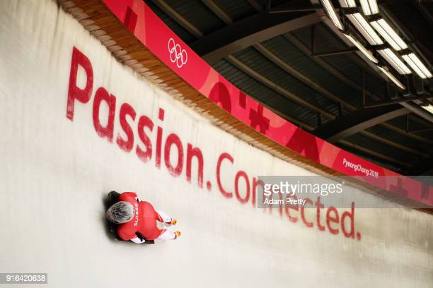 Marina Gilardoni from Switzerland slides during the Women's Skeleton training on day one of the PyeongChang 2018 Winter Olympic Games at Olympic...